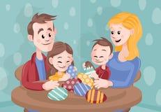 动画片在家庆祝复活节的传染媒介家庭 免版税库存图片