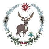 动画片在林业花圈的样式鹿 也corel凹道例证向量 图库摄影