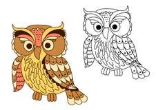 动画片在淡色的猫头鹰鸟 库存图片