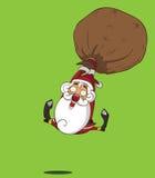 动画片在礼物气球的圣诞老人飞行 免版税库存图片