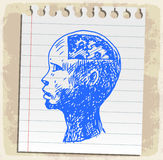 动画片在纸笔记,传染媒介例证的略图头 库存例证