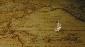 动画片在葡萄酒世界地图的帆船 向量例证