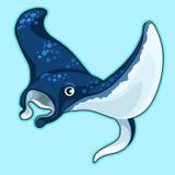 动画片在蓝色背景的青被察觉的黄貂鱼 向量例证