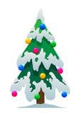 动画片在雪的圣诞树在白色背景 图库摄影