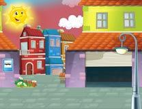 动画片场面在城市-背景 库存照片