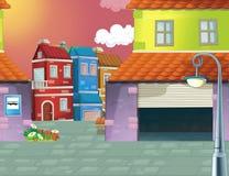 动画片场面在城市-背景 图库摄影