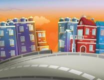 动画片场面在城市-背景 免版税图库摄影