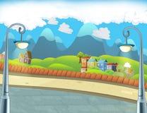 动画片场面在城市-背景 免版税库存图片
