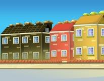 动画片场面在城市-背景 免版税库存照片