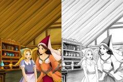 动画片场面在老传统厨房里-谈话两名的妇女-美丽的manga女孩-与着色页-例证 免版税图库摄影