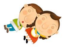 动画片场面-年轻夫妇睡觉- 向量例证