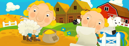 动画片场面-当农场助手准备人为绵羊-不同的童话的例证 免版税库存照片