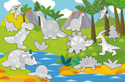 动画片场面-恐龙土地-灰色恐龙-孩子的例证 库存照片