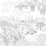 动画片塑造了外形与房子和葡萄分支的风景 皇族释放例证