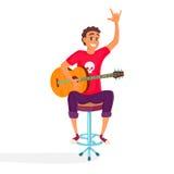 动画片声学吉他球员 少年吉他弹奏者显示摇滚乐标志 愉快的年轻人的传染媒介例证 免版税图库摄影