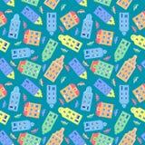 动画片大厦,装饰无缝的传染媒介样式,市民房子,五颜六色的汽车,纹理背景五颜六色的门面  免版税库存图片