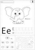 动画片大象、眼睛和地球 字母表追踪的活页练习题:wri 免版税图库摄影