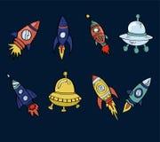 动画片太空飞船集合 免版税库存图片