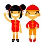 动画片夫妇、字符、亚裔男孩和女孩传统服装的在白色背景 中国新年度 向量 库存图片