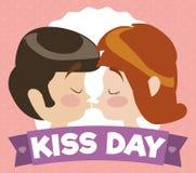 动画片夫妇亲吻在一条纪念亲吻天丝带后的,传染媒介例证 免版税库存图片