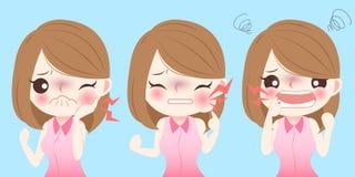 动画片女孩有牙痛 库存图片