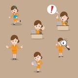 动画片女实业家字符姿势 图库摄影