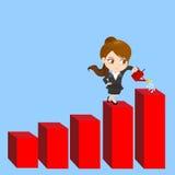 动画片女实业家显示销售成长 免版税库存图片