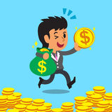 动画片女实业家运载的金钱袋子和硬币 免版税库存图片