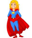 动画片女性特级英雄摆在 免版税图库摄影