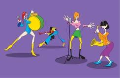 动画片女性音乐小组的风格化图象 免版税库存图片