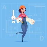 动画片女性建造者对负关键从新房和图纸在抽象计划背景 皇族释放例证