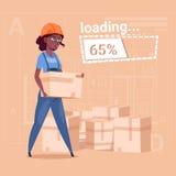 动画片妇女建造者运载在抽象计划背景女性非裔美国人的箱子 向量例证