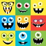 动画片妖怪面孔传染媒介集合 逗人喜爱的正方形 免版税图库摄影