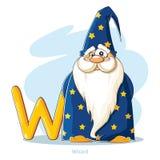 动画片字母表-在与滑稽的巫术师的W上写字 库存照片