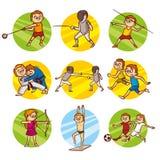 动画片孩子体育集合传染媒介剪贴美术 图库摄影