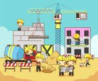 动画片孩子工程师、技术员和劳方工作者工作 库存照片
