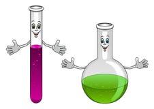 动画片实验室试验管和烧瓶字符 免版税库存照片