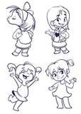 动画片小女孩被设置 导航跳舞被概述的动画片的女孩的例证,亲吻,提出 图库摄影