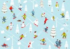 动画片山滑雪胜地无缝的样式 库存照片