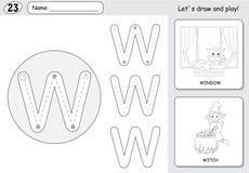 动画片巫婆和窗口 字母表追踪的活页练习题:写A 库存照片