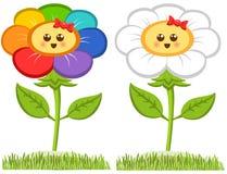 动画片微笑的花,在白色隔绝的愉快的雏菊 也corel凹道例证向量 库存图片