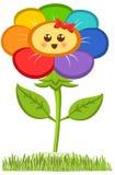 动画片微笑的花,在白色隔绝的愉快的雏菊 也corel凹道例证向量 库存照片