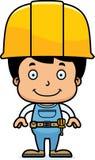 动画片微笑的建筑工人男孩 免版税库存照片