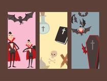 动画片德雷库拉传染媒介拟订标志吸血鬼象字符滑稽的人可笑的万圣夜和魔法咒语巫术鬼魂 库存图片