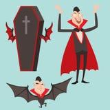 动画片德雷库拉传染媒介标志吸血鬼象字符滑稽的人可笑的万圣夜和魔法咒语巫术鬼魂夜 库存照片