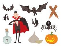 动画片德雷库拉传染媒介棺材标志吸血鬼象字符滑稽的人可笑的万圣夜和魔法咒语巫术鬼魂 库存图片