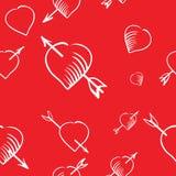 动画片心脏和箭头无缝的样式 免版税库存图片