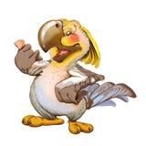 动画片快乐的鹦鹉在参观邀请 免版税库存图片