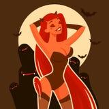 动画片恶魔女孩俏丽的字符 免版税库存照片