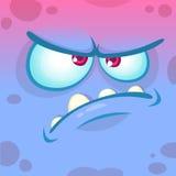 动画片恼怒的妖怪面孔 传染媒介万圣夜蓝色妖怪情感具体化 免版税库存照片